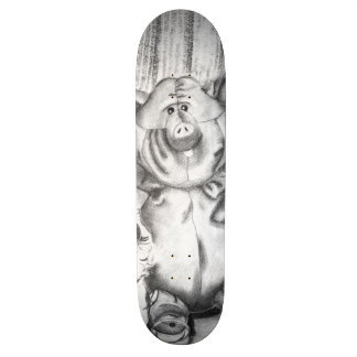 Piggy Stuffed Animal Charcoal Drawing Skateboard