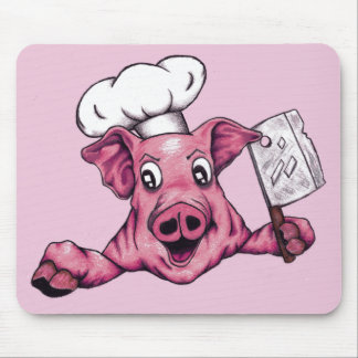 Piggy The Hamicidal Maniac Cartoon Pig Chef Art Mouse Pad