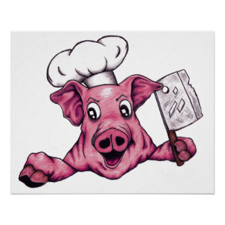 Piggy The Hamicidal Maniac Cartoon Pig Chef Art Poster
