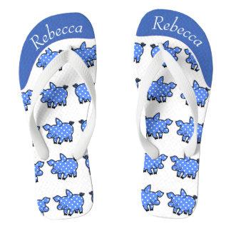 Piggy Toes Blue w/ Name Flip Flops