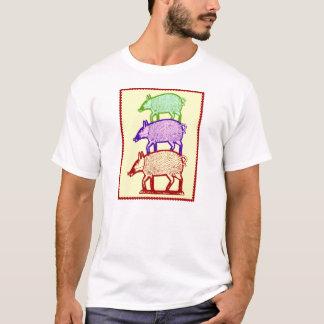 Piggyback Pigs - Three Colorful Pigs Piggy-Backing T-Shirt