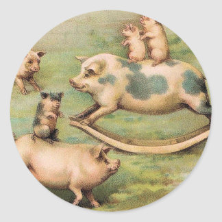 Piggyback Rides Round Stickers