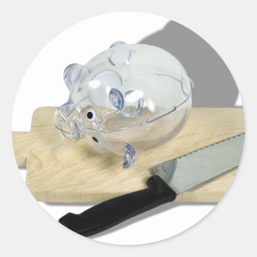 PiggyBankCuttingBoard092110 Pegatina Redonda