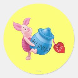 Round Sticker with Piglet of Winnie the Pooh with Honey Pot design