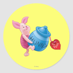 Round Sticker with Piglet of Winnie the Pooh with Honey Pot design