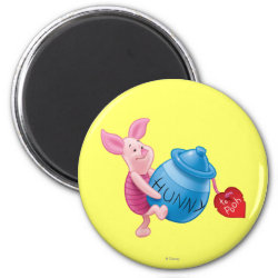 Round Magnet with Piglet of Winnie the Pooh with Honey Pot design