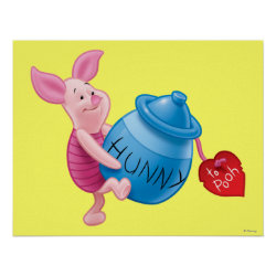 Matte Poster with Piglet of Winnie the Pooh with Honey Pot design