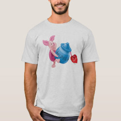 Men's Basic T-Shirt with Piglet of Winnie the Pooh with Honey Pot design