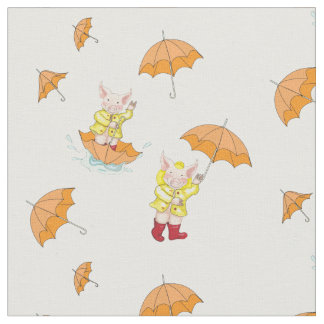 Piglet and Yellow Umbrellas Fabric