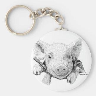 Piglet Basic Round Button Keychain