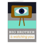 Piglet Brother is watching you, scandinavian art d Greeting Cards