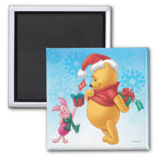 Piglet Gifting Pooh 2 Inch Square Magnet