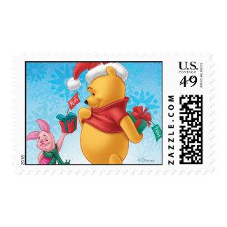 Piglet Gifting Pooh Postage Stamp