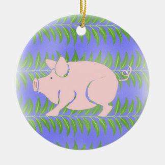 Piglet Double-Sided Ceramic Round Christmas Ornament
