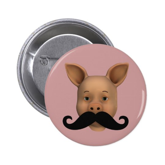 Piglet With Mustache Button