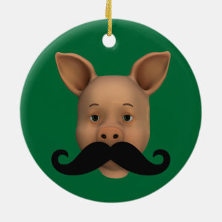 Piglet With Mustache Ceramic Ornament