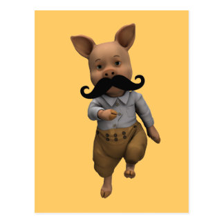 Piglet With Mustache Postcard