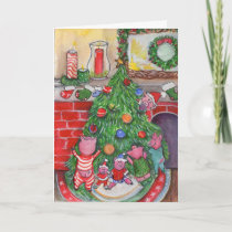 Piglets Decorating Tree Christmas Holiday Card