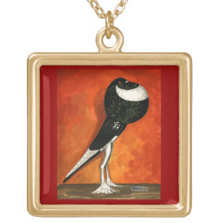 Pigmy Pouter Black Pied Gold Plated Necklace