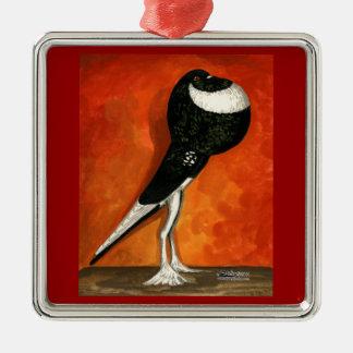 Pigmy Pouter Black Pied Metal Ornament