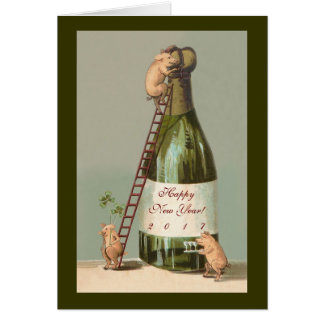 Pigs and Champagne; Cute 2017 New Year's Card