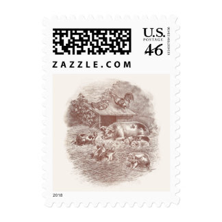 Pigs and Chickens in Barnyard Postage Stamp