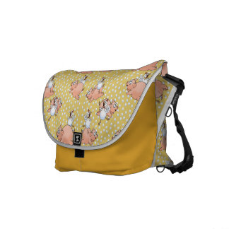 Pigs and chickens jumping on polka dots. messenger bag