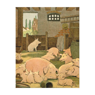 Pigs and Piglets on the Farm Stretched Canvas Print