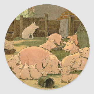 Pigs and Piglets on the Farm Classic Round Sticker