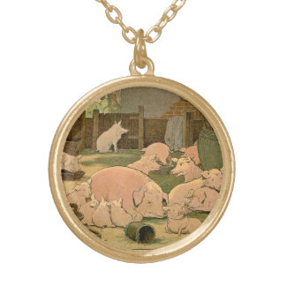 Pigs and Piglets on the Farm Gold Plated Necklace