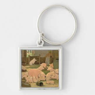 Pigs and Piglets on the Farm Keychain