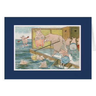 Pigs and Piglets Swimming in the Sea - Vintage Art Card