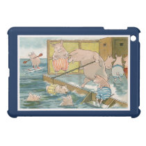 Pigs and Piglets Swimming in the Sea - Vintage Art Case For The iPad Mini