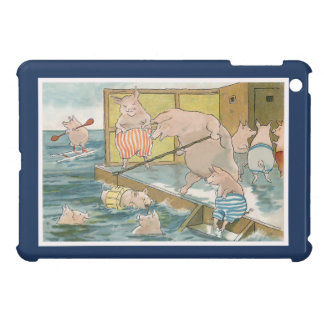 Pigs and Piglets Swimming in the Sea - Vintage Art iPad Mini Cover