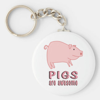 Pigs are Awesome Basic Round Button Keychain