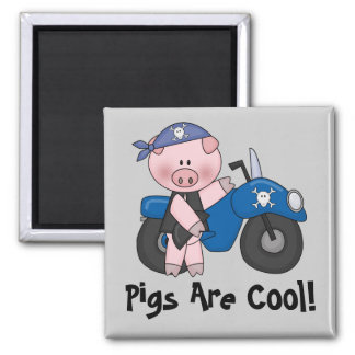 Pigs Are Cool 2 Inch Square Magnet