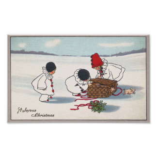 Pigs Breaking Free Vintage Christmas Poster