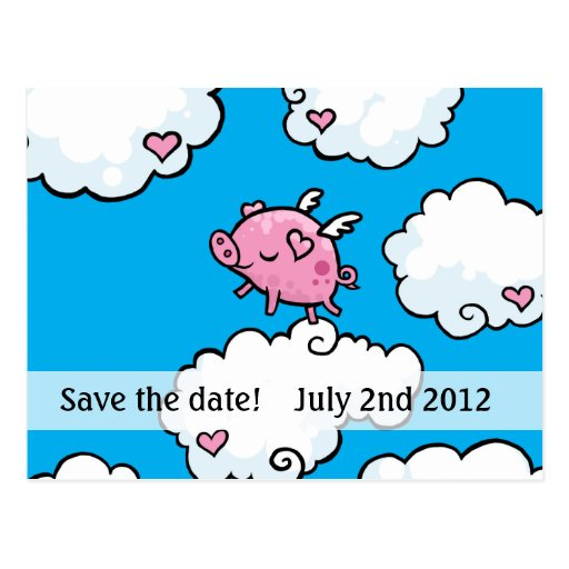 pigs do fly save the date postcard