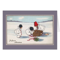 Pigs Escaping Basket Vintage Christmas Card