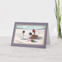 Pigs Escaping Basket Vintage Christmas Holiday Card