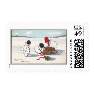 Pigs Escaping Children Vintage Christmas Postage