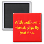 Pigs Fly 2 Inch Square Magnet