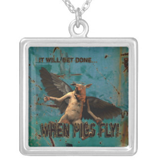 Pigs Fly Square Pendant Necklace