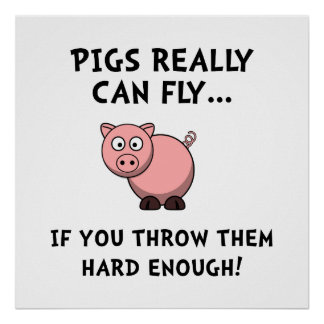 Pigs Fly Throw Poster