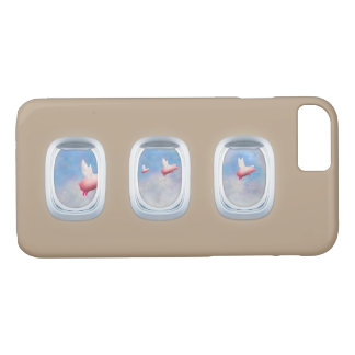 pigs flying past airplane windows iPhone 7 case
