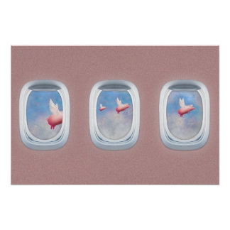 Pigs flying past airplane windows poster