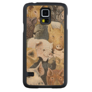 Pigs Galore Carved Maple Galaxy S5 Slim Case