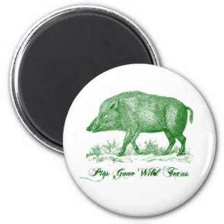 Pigs Gone Wild Texas ~ Green Magnet