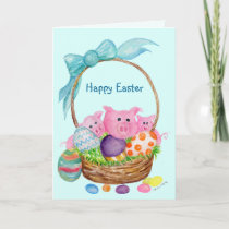 Pigs Happy Easter Card. Pigs, eggs, Easter basket Holiday Card