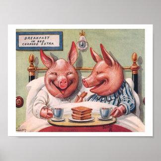 Pigs Having Breakfast in Bed Poster